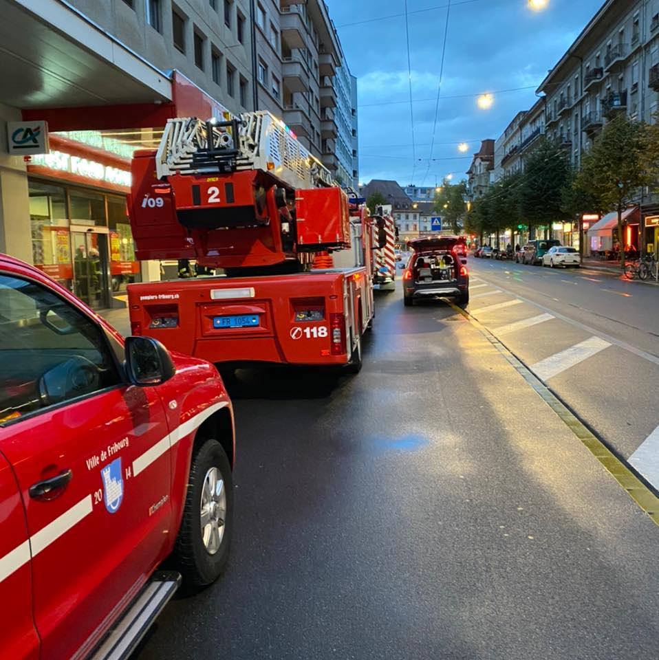 Intervention des pompiers dans le quartier de Pérolles