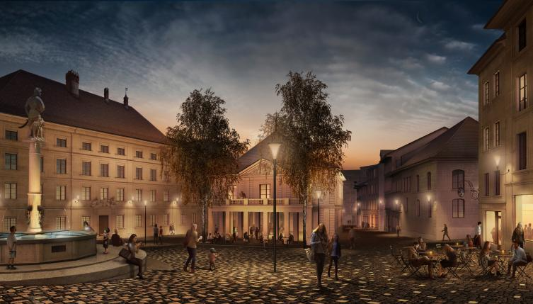 Place Sainte-Catherine (illustration de nuit) - Architecte: Studio Montagnini Fusaro
